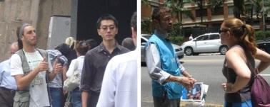 À esquerda, captador do Greenpeace (crédito: Heitor Augusto). À esquerda, voluntário da Unicef  durante abordagem na rua (crédito: Márcio Padrão)